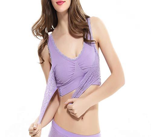 Sports Bra for Women Push Up Wire Free Padded Bra Anti-shock Sweat Lace