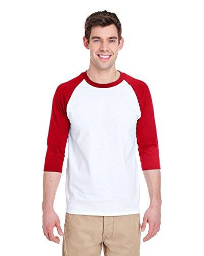 Gildan Adult Heavy Cotton 53 oz, 3/4 Raglan Sleeve T-Shirt - WHITE/ BLACK - S - (Style # G570 - Original Label) hot sale
