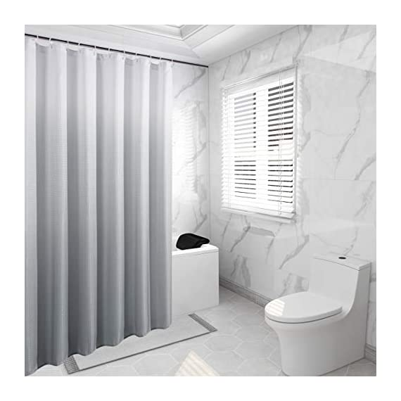 Bermino Textured Fabric Bath Shower Curtain - Ombre Shower Curtains for Bathroom with 12 Hooks, 70 x 72 inch, Grey Gradient - Heavy Duty Fabric Shower Curtain: Our heavy duty thick bath curtains are crafted from 100% imported polyester. The long shower curtain measures 70 by 72 inches. Water Resistant Shower Curtains: Our shower curtain is water resistant and helps keep water inside the tub. This fabric shower curtain for bathroom can be used alone or with a shower curtain liner (recommended). Available in a vibrant gradient ombre colors, our bathroom curtains will instantly elevate and add a touch of excitement and fashion to your most private space. Because we value your privacy, these shower curtains are not see-through. - shower-curtains, bathroom-linens, bathroom - 41YxTrtjceL. SS570  -