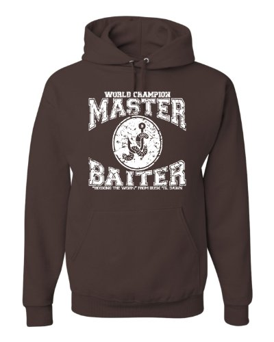 (XXXX-Large Chocolate Adult World Champion Master Baiter Fishing Sweatshirt Hoodie)