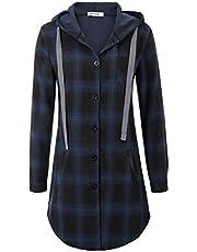 GRACE KARIN Women Long Sleeve Flannel Plaid Checker Hood Button Down Shirt Top