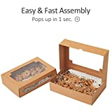 "Yotruth 8x5.3x2"" Pastry and Cookie Box Bakery Craft Brown Treat Gift Box Pop-up Easy Assembly With Clear Display Window 24 Pack"