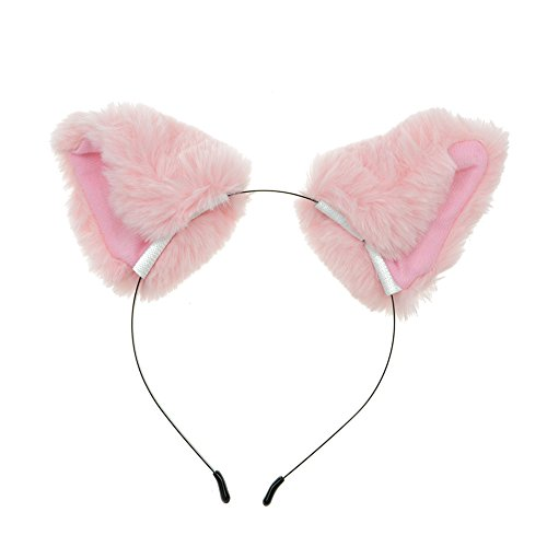 CHUANGLI Girl's Cute Cat Fox Long Fur Ear Headband Party Cosplay Costume Hairband (Pink)