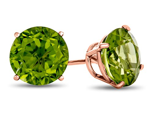 Finejewelers 10k Rose Gold 7mm Round Peridot Post-With-Friction-Back Stud Earrings