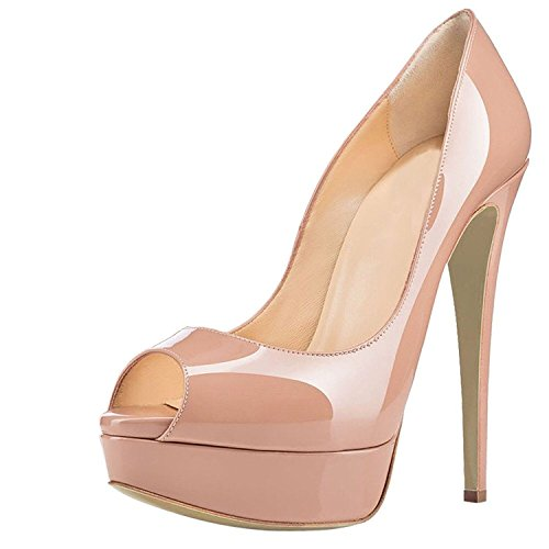 Beige Femme Peep Escarpins Escarpins 15CM 3CM Plateforme Plateforme Open Toe Chaussures elashe Talon Toe xOAnUqwBU