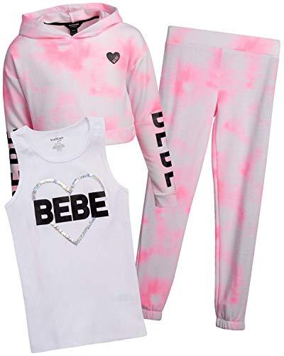 bebe Girls' Jogger Set – Active Fleece Pullover Sweatshirt, Jogger Sweatpants, and Performance Tank Top