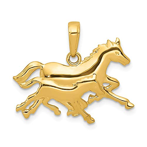 - Jewelry Stores Network 14K Yellow Gold Two Running Horses Pendant 19x23mm