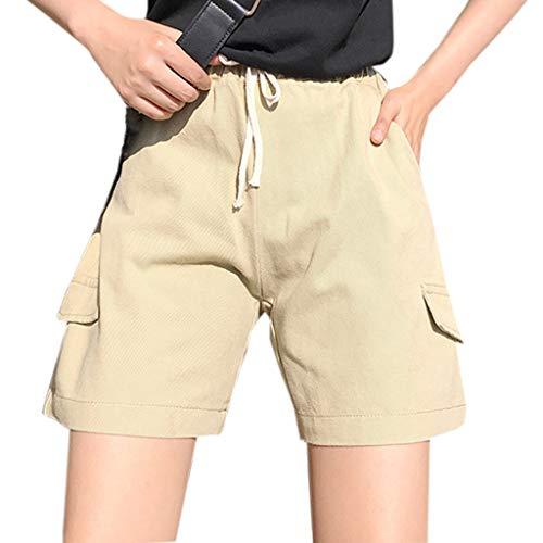 (Women's Shorts Casual Bib Overall Loose High Waist Pants Workwear Elastic Waist Pockets Trousers Yellow 0/2)