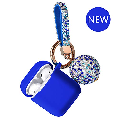 Blue Glitter Key Chain - AirPods Case - Compatible with Apple AirPods 1&2 Charging Case with Glitter Ball Keychain Protective Shockproof Silicone Skin Cover Accessories Case (Royal Blue)