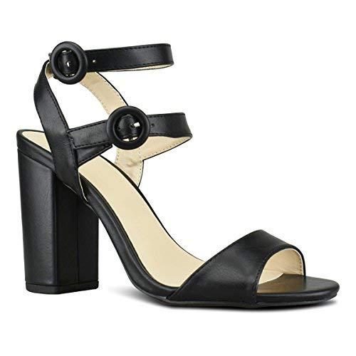Premier Standard - Women's Double Ankle Band Sandal - High Heel Buckle Shoe - Edgy Sexy Wood Block Heel, TPS2019100114 Black Size 8.5