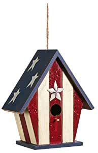 Americana Traditional Birdhouse With Glitter