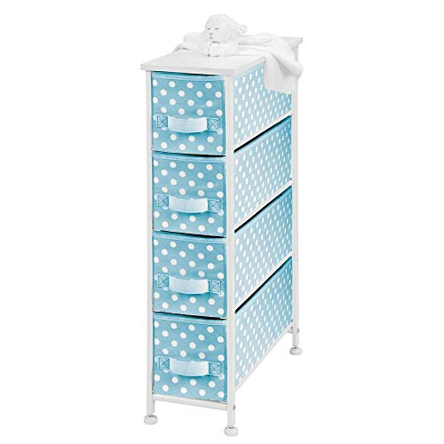 (mDesign Narrow Vertical Dresser Drawers - Sturdy Steel Frame, Wood Top, 4 Easy Pull Fabric Bins - Organizer Unit for Child/Kids Room or Nursery - Polka Dot Pattern - Turquoise Blue with White Dots)