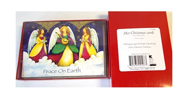 Praying Angel Child on Red Box of 18 Religious Christmas Cards