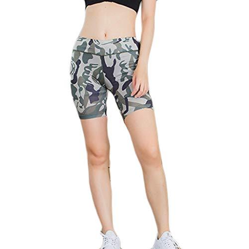 iHPH7 Yoga Leggings Capri Leggings Women's Fitness Yoga Shorts Night Running Sports Training Quick-Drying Tight-Fitting Pants (L,Army Green)