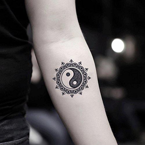 Mandala Yin Yang Temporary Fake Tattoo Sticker (Set of 2) - TOODTATTOO.COM ()