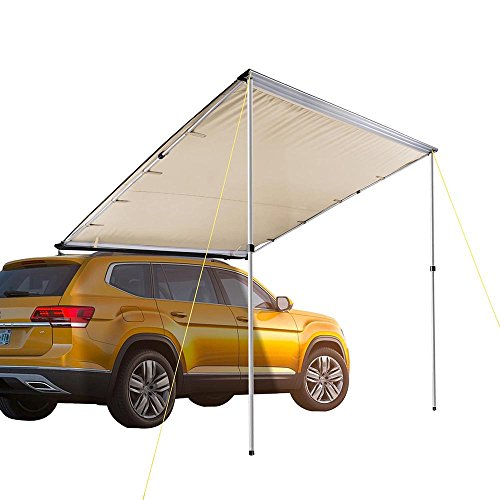Yescom 8.2'x8.2' Car Side Awning Rooftop Pull Out Tent Shelter PU2000mm UV50+ Shade SUV Outdoor Camping Travel Sand