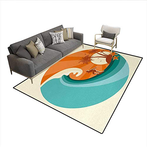 Man Island Wicker (Carpet,Retro Man Surfing at Beach Island Coconut Palm Trees Illustration,Non Slip Rug Pad,Orange Teal IvorySize:6'x7')