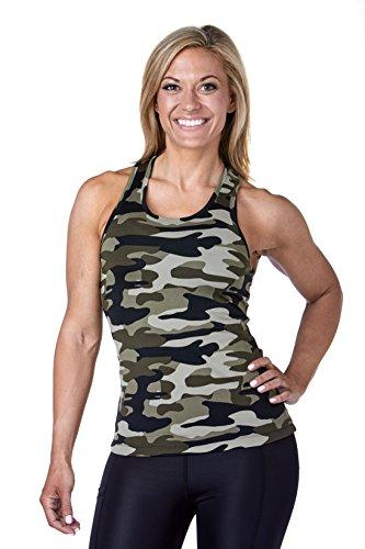 (WEST ZERO TWO Womens Tank Tops Camo Racer Back Yoga Running Training (S, Green))