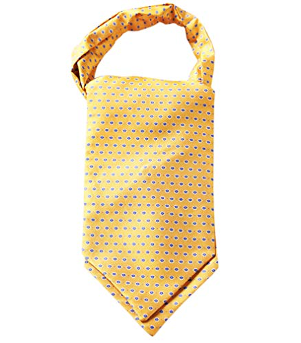 Tie Mens Silk Scarf - HISDERN Men's Floral Jacquard Woven Self Cravat Tie Ascot Yellow/Blue