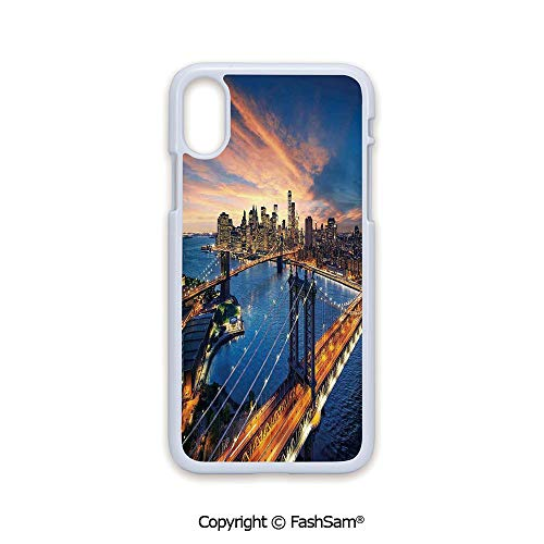 Phone Case Compatible with iPhone X Black Edge American City Sunset Over Manhattan and Brooklyn Bridge Cityscape Picture Print 2D Print Hard Plastic Phone Case -