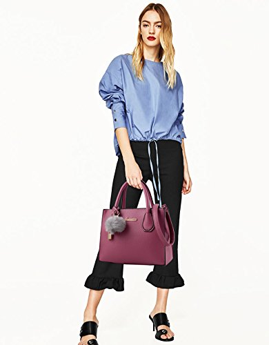 NICOLE&DORIS Moda Bolso Mujer Crossbody Tote Bolsa de La Compra Bolsa de Hombro PU Caqui Púrpura