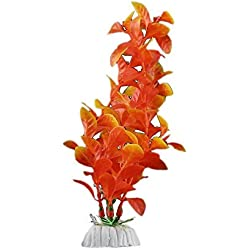 Decoration-SODIAL(R) Orange Artificial Plant Plastic Aquarium Decoration
