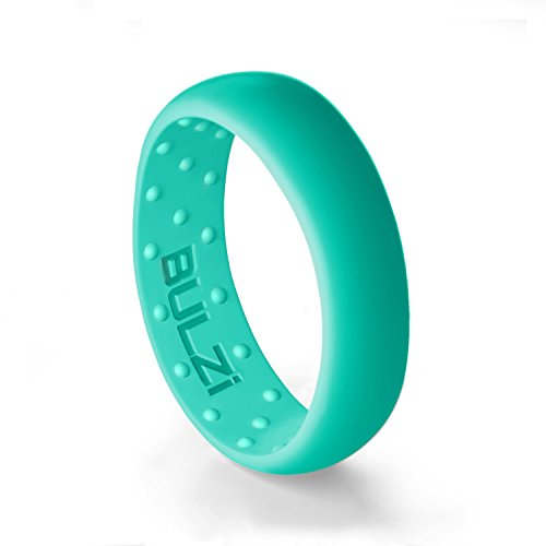 BULZi - Massaging Comfort Fit Silicone Wedding Ring - #1 Most Comfortable Women's Wedding Band - Round Edges with Flexible Work Safety Domed Design (Turquoise, Size 5 - (6mm Width Band)) ()