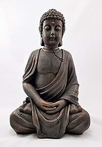 Grande 39 cm de Buda de piedra jardín Outoor sentado Estatua decorativa de interior de efecto tailandés