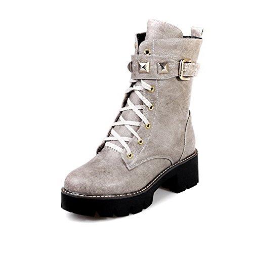 AgooLar Damen Eingelegt Reißverschluss Rund Zehe Mittler Absatz Stiefel mit Rivet Set Grau