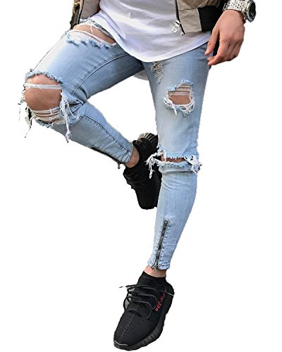 YT couple Men's Skinny Ripped Destroyed Distressed Zipper Stretch Knee Patch Slim Fit Straight Denim Pants Jeans (Blue, Size 32) by YT couple