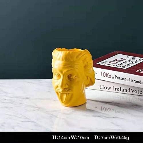 Virgin pot 2020 Creative Einstein Resin Decoration Vase Flower Pot For Desk and Home Decor Scientist Statue Utensil Studio Art Illustration Pen Pen Holder Yellow