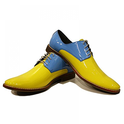 Yellow & Baybe Bleu ElŽgant Chaussures Hommes - Handmade Colorful italiennes Chaussures en cuir Oxfords Casual formelle haut de gamme uniques Chaussures Vintage Gift Lace Up Robe Hommes
