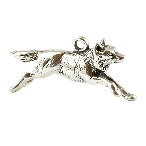 Sterling Silber Running Wolf 3D-Charm-Anhä nger Charm School UK