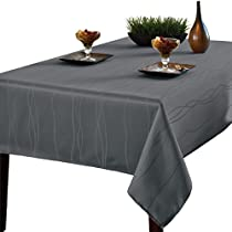 Benson Mills Gourmet Spillproof Fabric Tablecloth, Charcoal, 60 X 102 - Inch