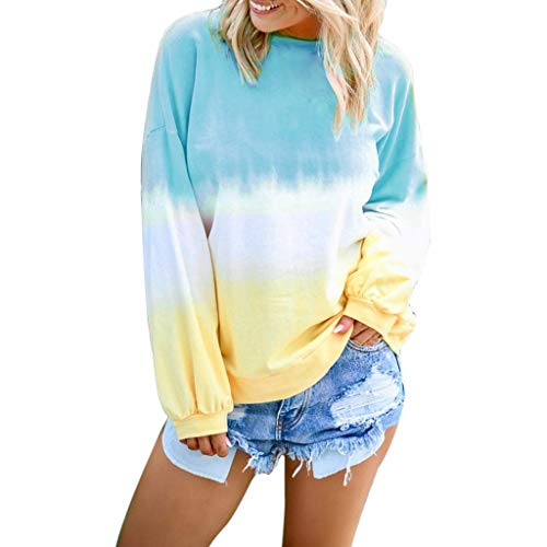 Women's O-Neck Gradient Contrast Color Long Sleeve Top Pullover Sweatshir Light Blue (O God Of God O Light Of Light)