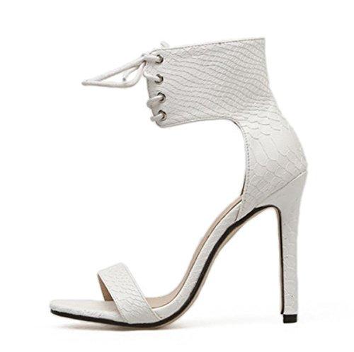 LINYI Zapatos De Mujer Sandalias Artificial PU Stiletto Heels High Heels Open-Toed Strappy white