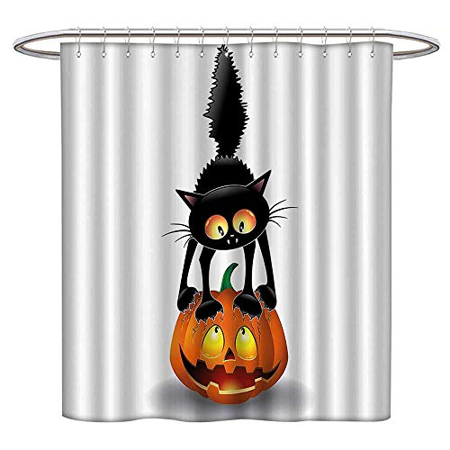 Jiahonghome Large Home Decoration Black Cat Pumpkin Head Spooky Carto Characters Halloween Humor Themed for Bathroom Water-Repellent Hotel Quality W 63 x L 72 INCH ()
