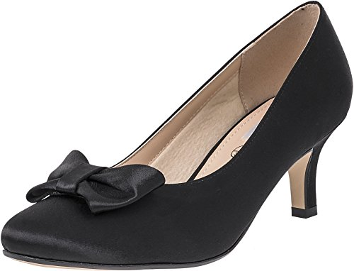 LEXUS Womens Low Heel Court Shoes Bow Design On The Top Comfortable E Fit Bridal Party Prom Shoes Black 7ASeL