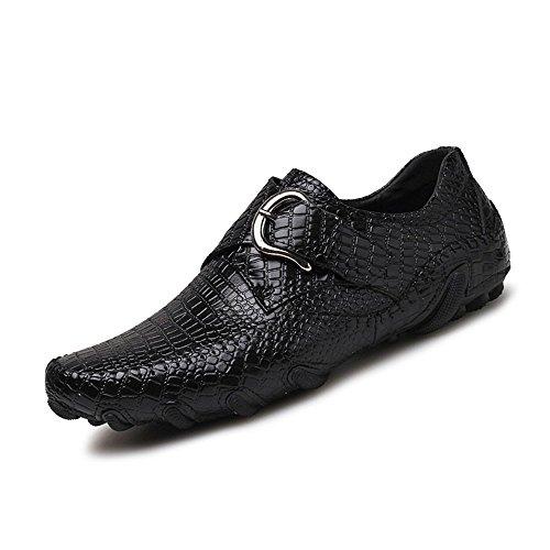 fibbia mocassini in mocassino crocodile casual shoes ballerine metallo nbsp;uomo striped Shufang nuovo stile guida Nero vera pelle barca 9 Brown 2018 scarpe uomo Jumbo mocassini FwZqzaWIz