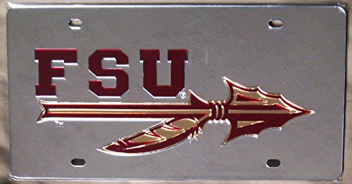Spear Fsu (Florida State Seminoles SILVER SPEAR SD55440 Deluxe Laser Cut License Plate Tag University of)