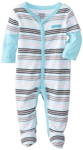Calvin Klein Baby-Boys Newborn and Blue Stripes Twofer Stretchie