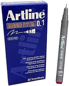 قلم رسم 0.1 ملم لون احمر عبوة 12 قلم من ارتلاين EK-231