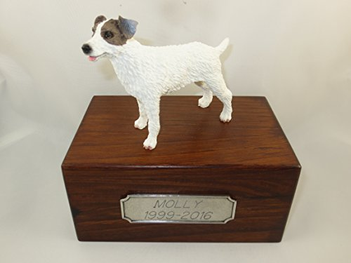 - Beautiful Paulownia Small Wooden Urn with Brown & White Roughcoat Jack Russell Terrier Figurine & Personalized Pewter Engraving