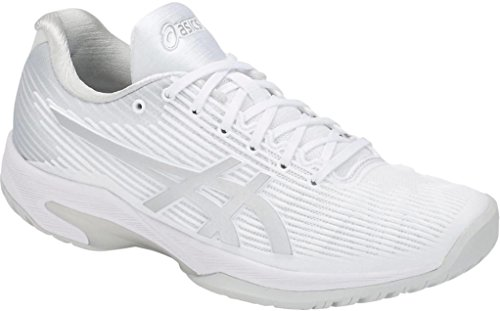 ASICS Womens Solution Speed FF Clay Tennis Shoe, White/Silver, Size 8