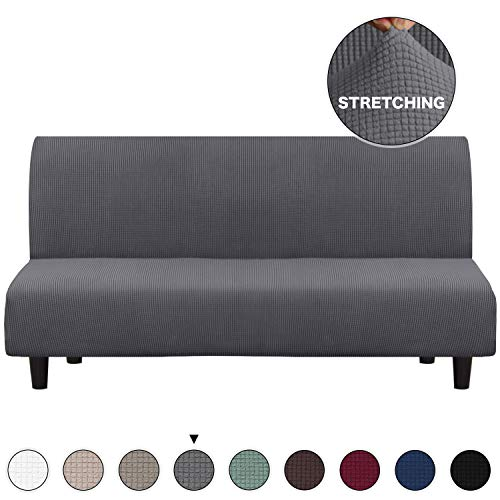 Grey Sofa Slipcover Stretch High Spandex Futon Cover/Lounge Covers/Couch Covers Furniture Covers for 3 Seater Futon Slipcover, Form Fit Stretch, Stylish Furniture Cover/Protector (Futon, Grey)