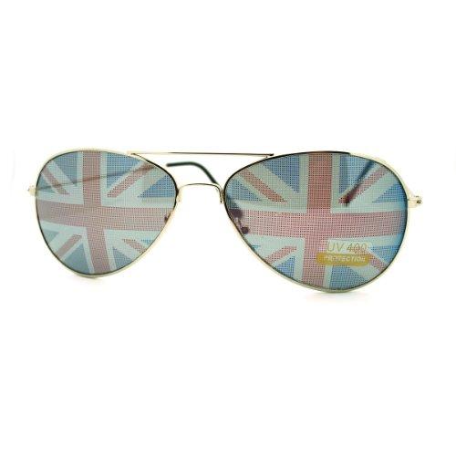 UK Great Britain Flag Print Lens Aviator Sunglasses Union Jack (British Flag Sunglasses compare prices)