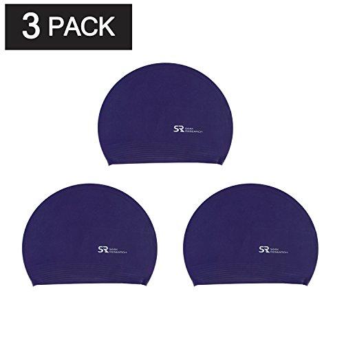 - Swim Research Durable Solid Latex Swim Cap (Purple-3PK)