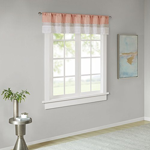 Rod Pocket Valance Window Curtains For Bedroom ,Transitional Modern Light Bedroom Curtains , Pieced Amherst Curtain Panels For Living Room Family Room Curtains , 50x18