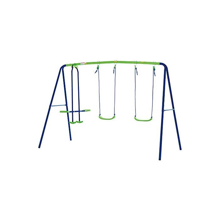 Columpio doble Aktive Sports con balancín de 2 asientos y 2 columpios tradicionales, permite jugar a la vez a 4 niños mayores de 3 años Medidas columpio montado: 280 cm de ancho, 140 cm de profundo, 179 cm de alto, asientos: 35,5x18x8,5 cm, soporta 180 kg de peso máximo Cómodo y seguro, asientos ergonómicos y cuerdas resistentes de 114 cm de largo para sujetar los asientos y el balancín a la estructura del columpio