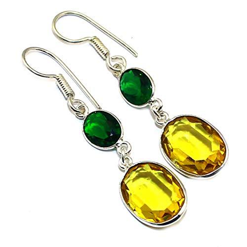 925 Sterling Silver Overlay Malachite Green Onyx Earring Jewelry Gifts - Malachite Onyx Earrings